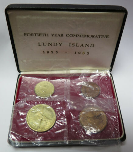 1965 Lundy Island 4-Coin Proof Set Brass / Copper Puffin