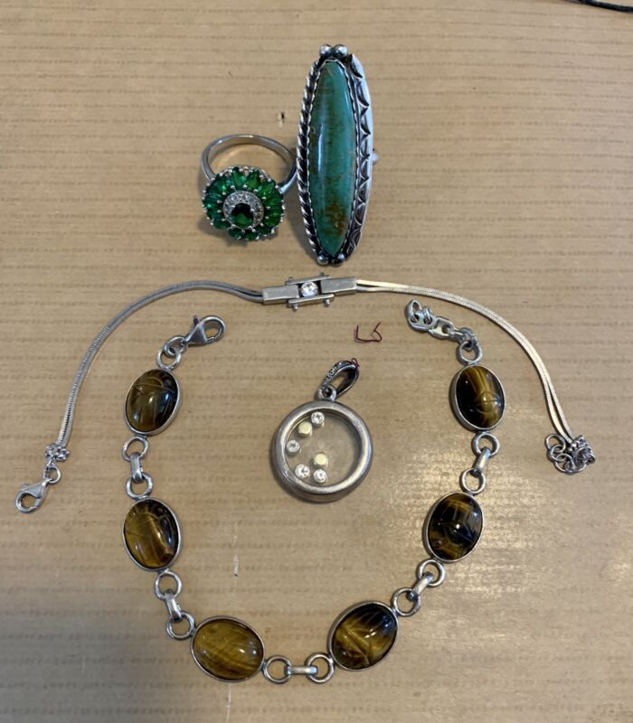 Lot Of 5 Sterling Silver Rings, Bracelets ,Tiger Eye, Floating Charm  Turquiose
