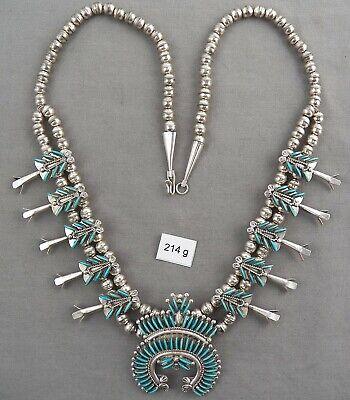 Vintage Zuni Petite Point Squash Blossom Necklace, Ray & Eva Wyaco, NICE! Zuni Squash Blossom Necklace
