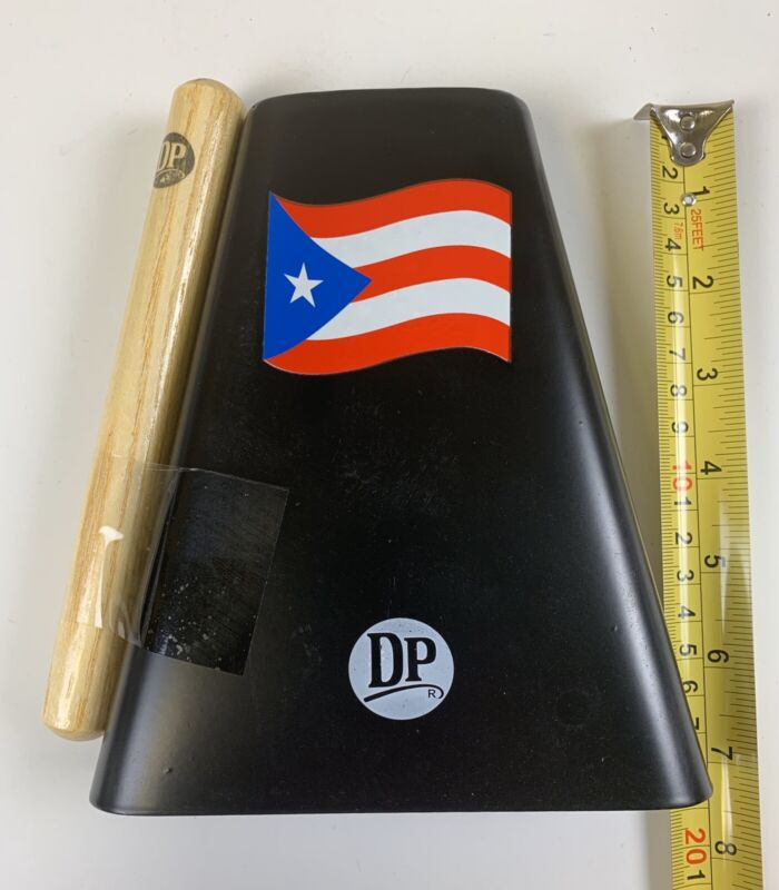 "Hand Held Cowbell 7"" With Cowbell Beater And Puerto Rico Flag Design."