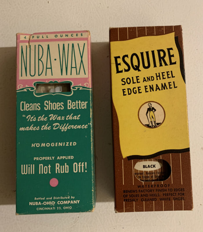 (1) Shoe Cleaner Wax & (1) Esquire Sole & Heel Boot Polish NOS Full Bottles