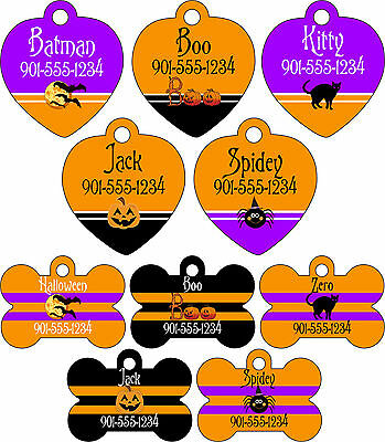 Halloween Themed Name Tags (Halloween Themed Pet Id Tags for Dogs & Cats Personalized w/ Name &)