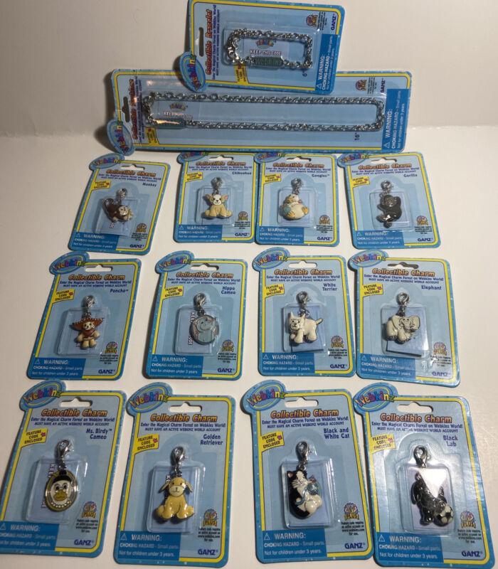 Ganz Webkinz Collectible Charms Lot Necklace Bracelet Cat Elephant Poncho