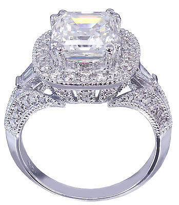 GIA I-VS2 18k White Gold Asscher Cut Diamond Engagement Ring Etoile Deco 2.85ctw