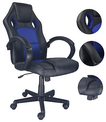 EXECUTIVE BLUE RACING OFFICE GAMING CHAIR RECLINING SWIVEL LEATHER COMPUTER