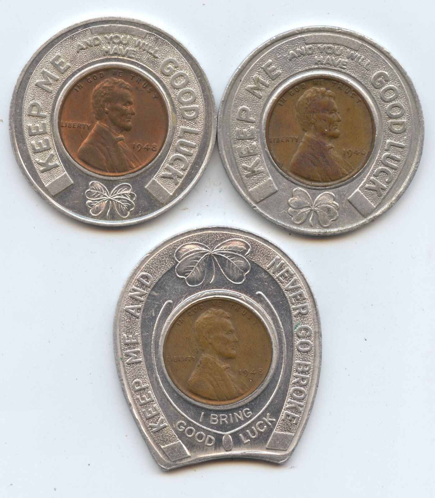Three Diff. Good Luck Tokens (#7600) Encased Cents 1946 Flowers from Andersons
