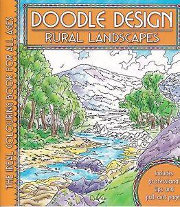 DOODLE DESIGN __ RURAL LANDSCAPES _ BRAND NEW ADULT COLOURING BOOK _ FREEPOST UK