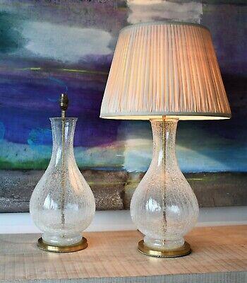 A Pair of Stylish Vintage Crackle Glass Brass Hall Bed Side Console Table Lamps
