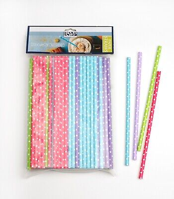 Polka Dot Paper (RSVP  Polka Dot Biodegradable Paper Straws Party Tea Cocktail Wine  100 pack)
