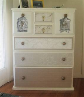 Timber chest of drawers, custom decorated