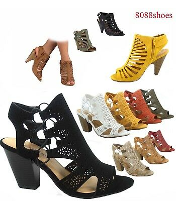 Women's Fashion Summer Sexy Open Toe Chunky Heel Sandals Shoes Size 5.5 - 11 NEW ()