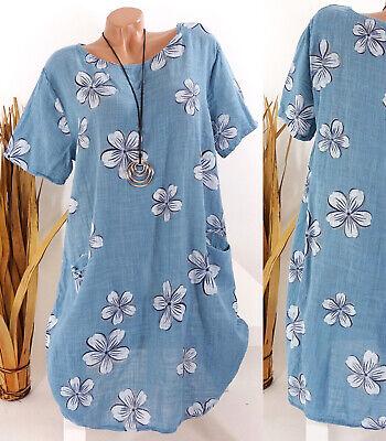 Kleid Damen Sommer Blumen Taschen Strand Lagenlook Tunika blau 40 42 44 46 Italy