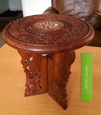 Two Vintage/Antique Oriental Indian hand carved Rosewood small tables HOME DECOR