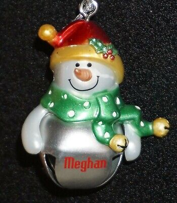 Ganz Jingle Bell Christmas Ornament Snowman Red Cap Personalized Pick Name Girls Red Jingle Bell