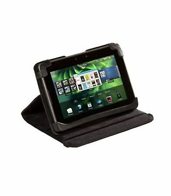 Black Leather Folio Case Cover for Blackberry Playbook Tablet desktop Stand view Blackberry Leather Folio Case