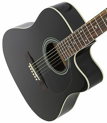 Jameson Full Size Black Acoustic Electric Guitar with Pickup & Cutaway  Black Cutaway Acoustic Guitar