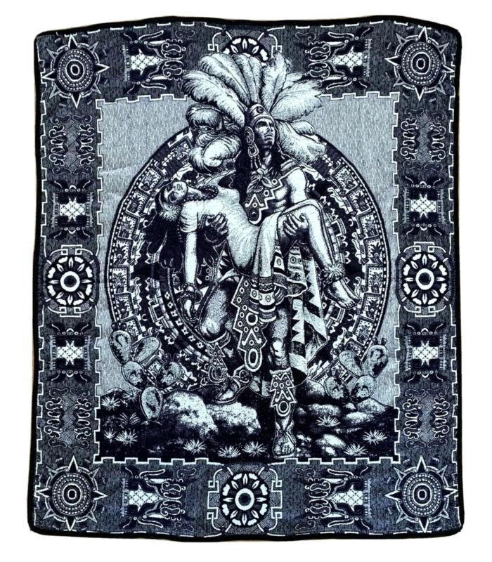 Vtg Artilana Mexican Throw Blanket 67x41 Mayan Aztec Warrior Holding Princess