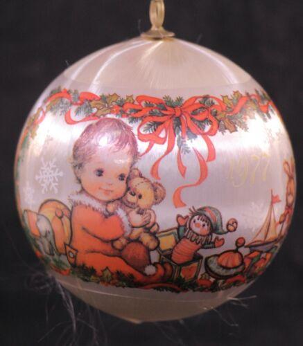 Vintage Hallmark 1977 Babys First Christmas Satin Keepsake Ornament 3 1/2 in