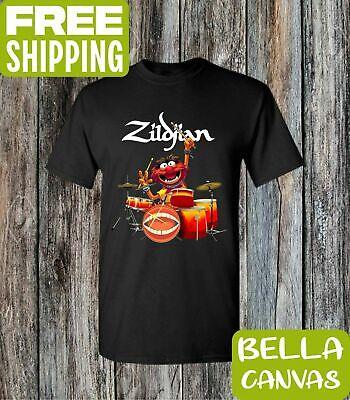 Muppet Animal T Shirt (Muppets Animal Drummer Zildjian Black Soft Cotton)