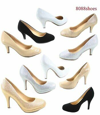 Women's Patent Glitter Round Toe Low High Heel Pump Office Shoes Size 5.5 - 11 Womens Round Toe Pump