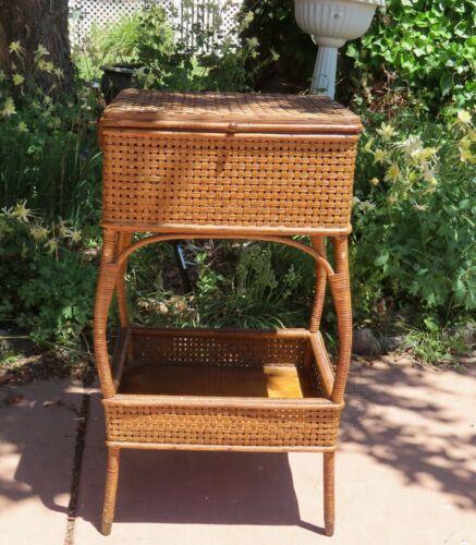 Vintage Cane and Wood Pedestal Sewing Basket - Heywood Brothers and Wakefield