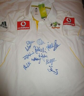 Australian Test team v England (2010/2011)  signed official Test Match Shirt image
