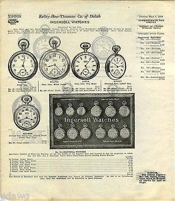 1916 ADVERT Ingersoll Pocket Watch Store Display Showcase Case Eclipse