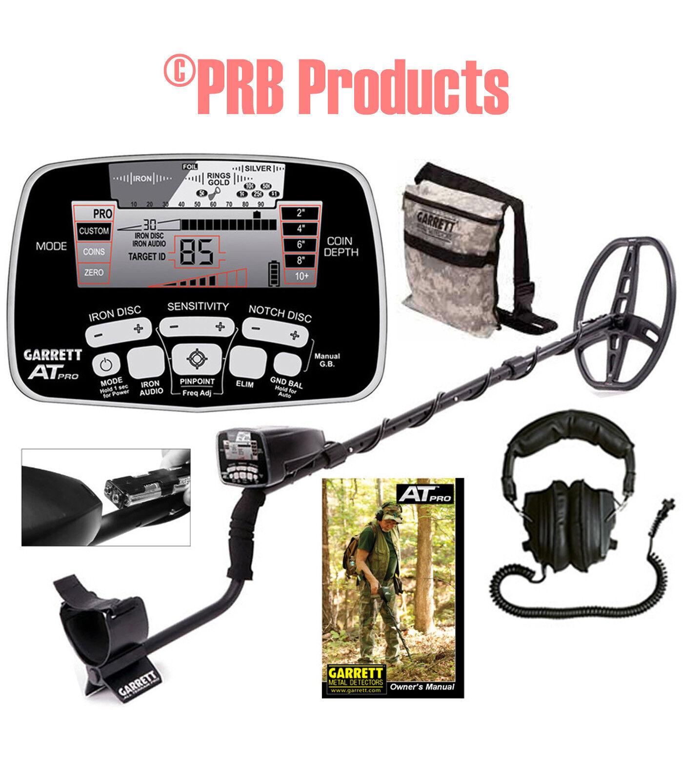 Garrett AT Pro Metal Detector with Land Headphones Camo Pouch 1140460 Garet