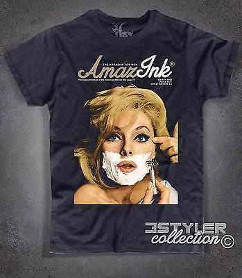 Abdeckung Herren T-shirt (T-Shirt Herren schwarz Abdeckung Esquire Virna Lisi Magazin man Mädchen shaving)