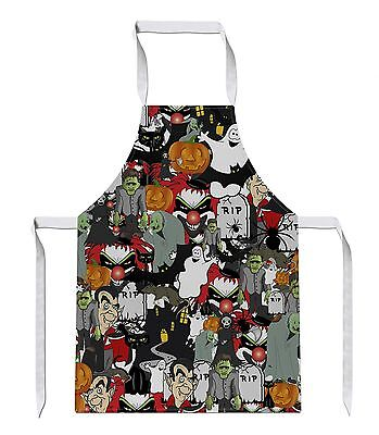 Halloween All Over APRON Ghost Party Pumpkin Novelty Gift Present Gothic Funny - Halloween Over Funny