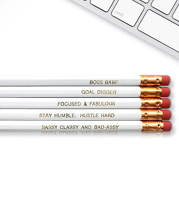 Engraved Pencils (Boss Babe - Inspirational Pencils Engraved With Funny And Motivational)
