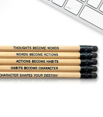 Engraved Pencils (Gandhi Quote - Inspirational Pencils Engraved With Funny And)