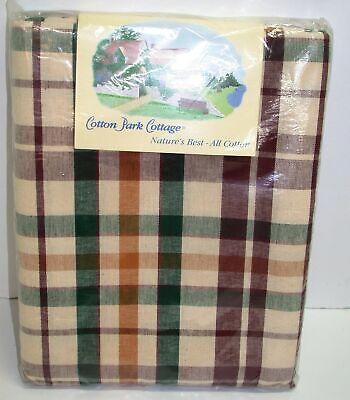 "Cotton Park Cottage Tablecloth ~ Concord Plaid Burgundy ~ 60"" x 84"" Oval NEW"