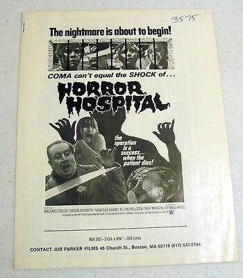 Horror Hospital 1973 (aka Computer Killers) original press sheet 8.5x11 (2 sheet