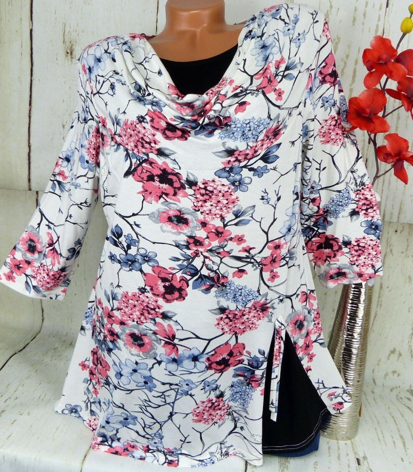 New Jersey Shirt Tunika Bluse Kleid Top Lagenlook Kurz Creme Bunt XL 42 44