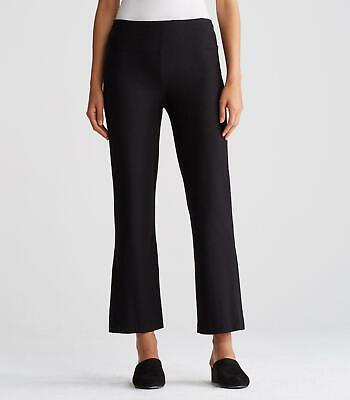 Eileen Fisher Washable Stretch Crepe Flare Ankle Pants in Black, Size M Black Stretch Crepe