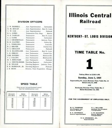 Illinois Central - Kentucky-St Louis Division - No 1 - June 1969