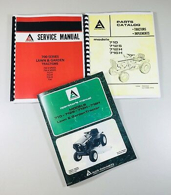 Lot Allis Chalmers 700 Series Service Parts Operators Manual Set Garden Tractor