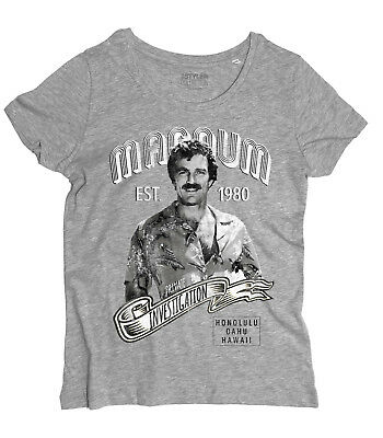 T-Shirt Magnum PI inspiriert durch die telefilm mit Tom Selleck 80er Jahre (Die 80er Jahre Kleider Für Damen)
