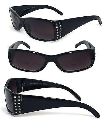 Ladies Rhinestone Bifocal Reading Glasses Sunglasses Sun Reader BF68 Black +2.75 Black Rhinestone Reading Glasses