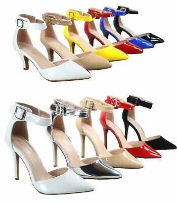 Women's Shiny Patent Pointy Toe Ankle Strap Pump Low Heel Shoes Various Size NEW - Patent Ankle Strap Pump