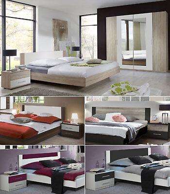 Schlafzimmer Komplettset Kleiderschrank Bett 180x200 Nachttische (Zimmer Möbel)