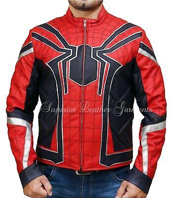 Spiderman Armor Avengers Infinity War Leather Costume Jacket Halloween Cosplay - Leather Spiderman Costume