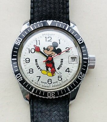 Rare Vintage 1977 Bradley Mickey Mouse Divers Pearl Burst Men's Submariner Watch