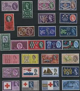 1953-70, QE11 COMPLETE COLLECTION OF ALL 62 G. B. COMMEMORATIVE STAMP SETS, MNH