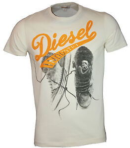NEW MENS DIESEL FOXXY TSHIRT Sneakers Print in Cream, Charcoal or White