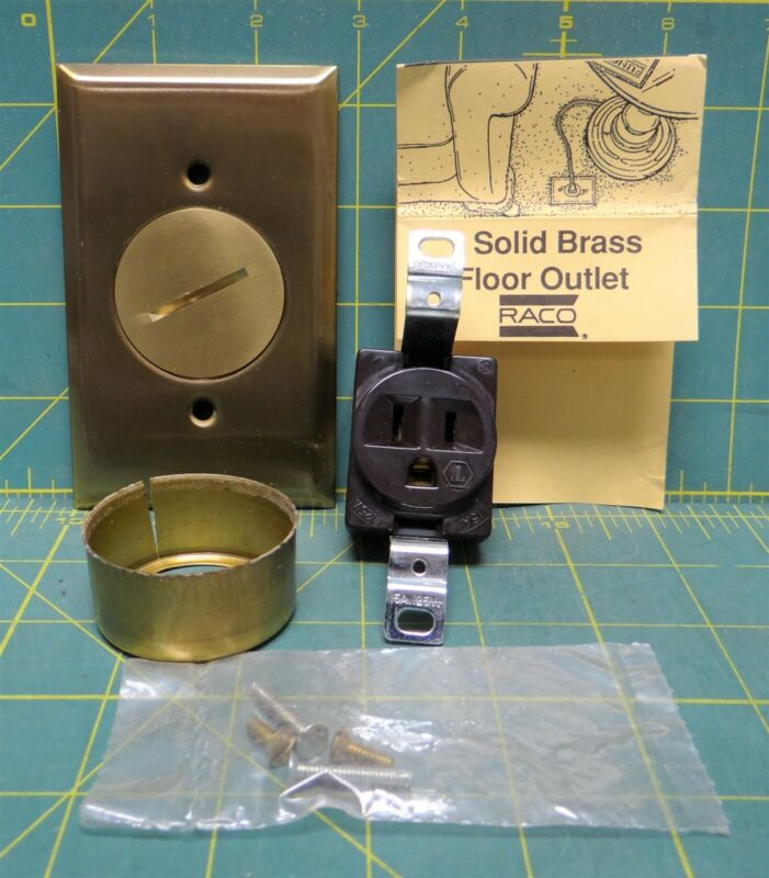 Raco 5236 Solid Brass Outlet for Carpeted & Wood Floors w/15A 125V Receptacle