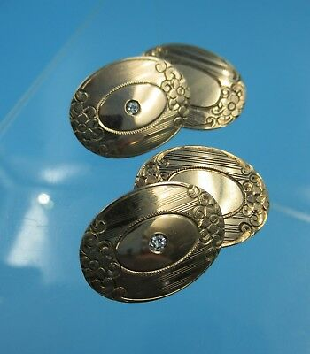 Pair Antique 14K Rose Gold Oval Button Style Cufflinks with Diamond Fronts