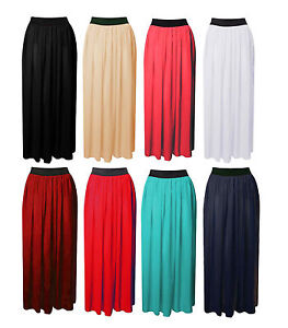 Womens-Maxi-Skirt-Ladies-Sheer-Chiffon-Gypsy-Plain-Long-Maxi-Dress-Skirt-8-To14