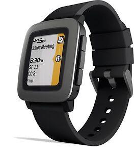Pebble Time Smartwatch Black Smart Watch Water Resistant Android iOS Steel Bezel